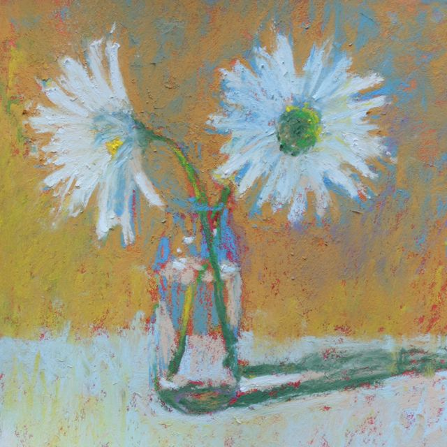 "Gail Sibley, ""Two Daisies in a Vase,"" pastel, 5.5 x 5.5 in. An example of a high key painting"