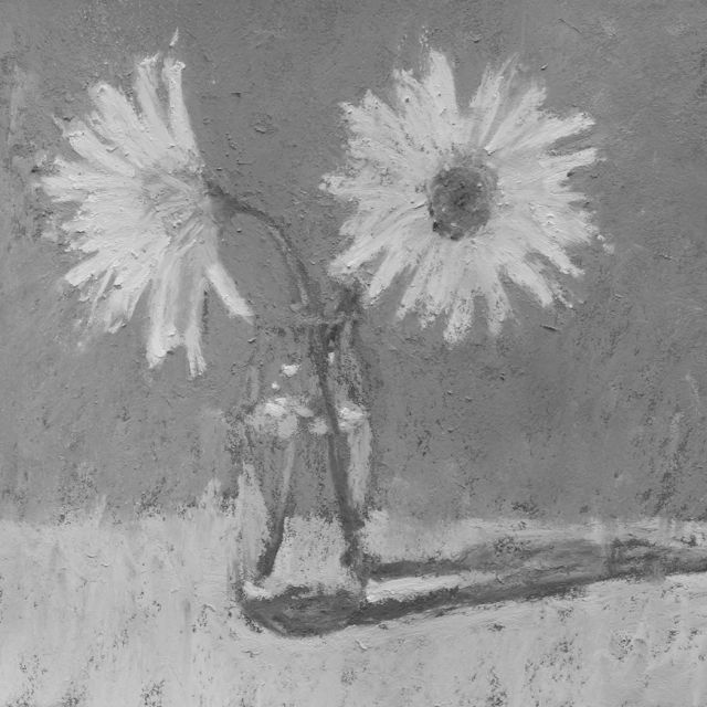 "Gail Sibley, ""Two Daisies in a Vase,"" pastel, 5.5 x 5.5 inches - in black and white"