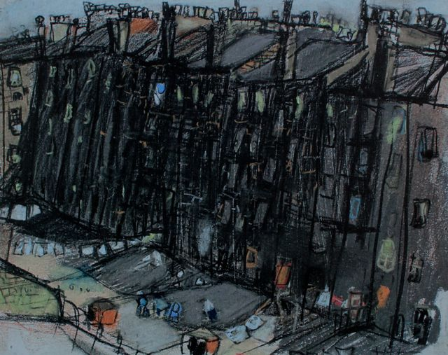 "Joan Eardley, ""A Glasgow Tenement,"" c.1959-62, pastel, 7 7/8 x 9 7/8 in, Private Collection"
