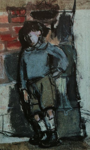 "Joan Eardley, ""Boy Leaning Against a Wall,"" c.1955-59, pastel on paper, 6 3/4 x 4 1/4 in, Private Collection. One of the earliest pastels I could find."