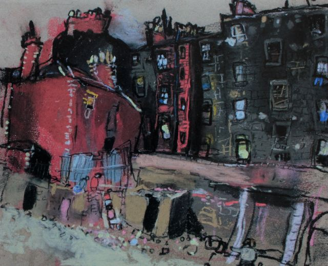 "Joan Eardley, ""Glasgow Tenement and Back Court,"" c.1959-62, pastel on glasspaper (sandpaper), 8 7/8 x 10 5/8 in, Private Collection"