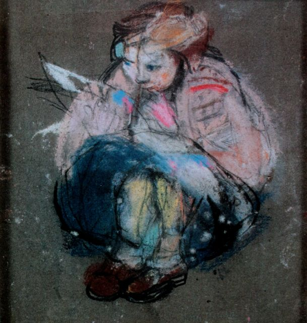"Joan Eardley, ""Little Girl and Comic,"" c.1958-62, pastel, 6 7/8 x 6 5/8 in, Private Collection"