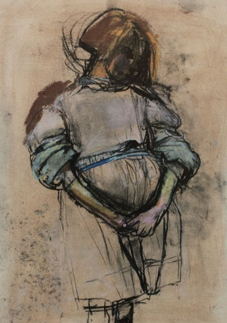 "Joan Eardley, ""Little Glasgow Girl,"" c.1958, pastel, 18 7/8 x 13 3/4 in, Private Collection"