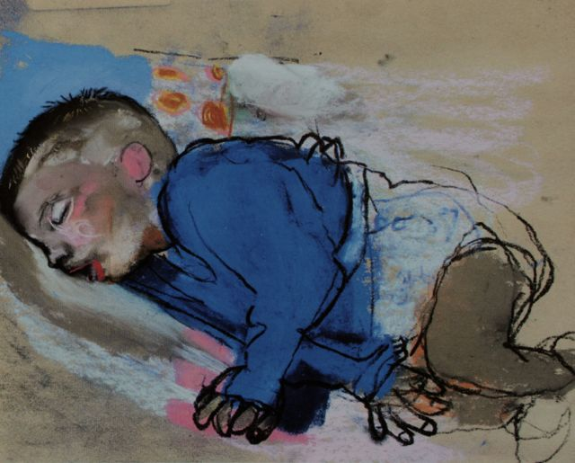 "Joan Eardley, ""Sleeping Child,"" c.1962, pastel on sandpaper, 8 5/8 x 10 3/4 in, Private Collection"