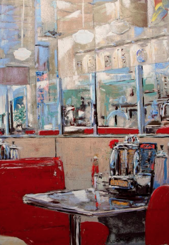 "Leo Loomie, ""The Red Booth,"" pastel on ersta paper on foamcore, 20 x 16 in"