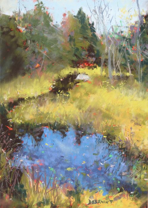 "Linda Dessaint, ""The Secret Spot,"" pastel on Wallis paper, 12 x 9 in"
