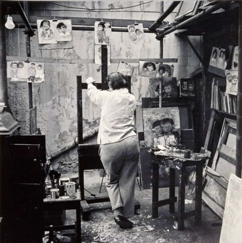 Photo of Joan Eardley in her Townhead studio. Photo Audrey Walker