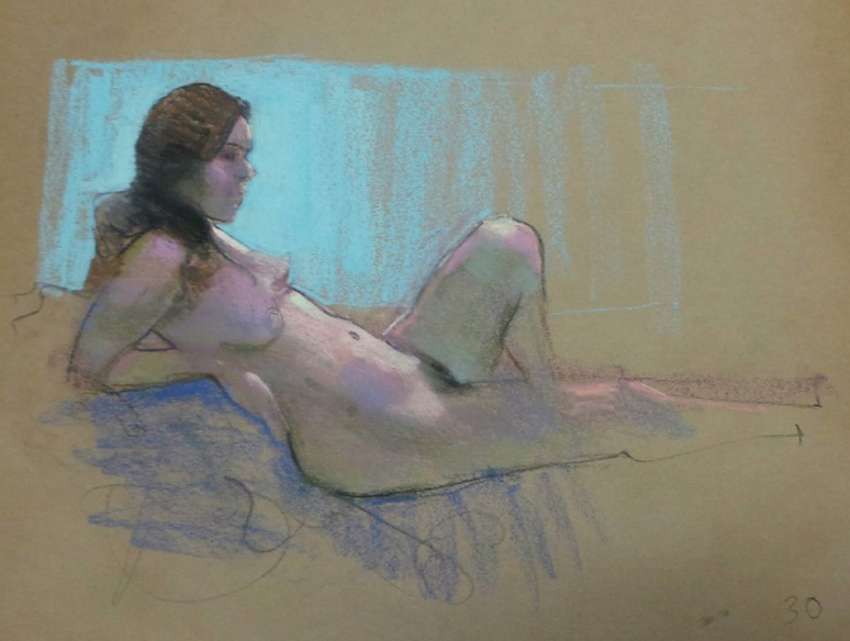 A pastel gem - Andrew McDermott, Life drawing 30 min pose, pastel on kraft paper, approx 18 x 24 in