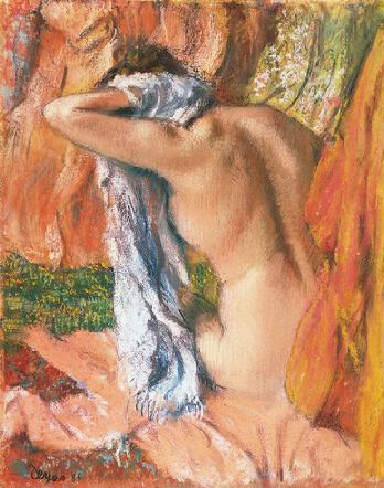 "Edgar Degas, ""After The Bath,"" c.1890-93 (dated in error by another hand:1885), pastel on tracing paper mounted on cardboard, 26 x 20 3/4 in, Norton Simon Museum, Pasadena, California"