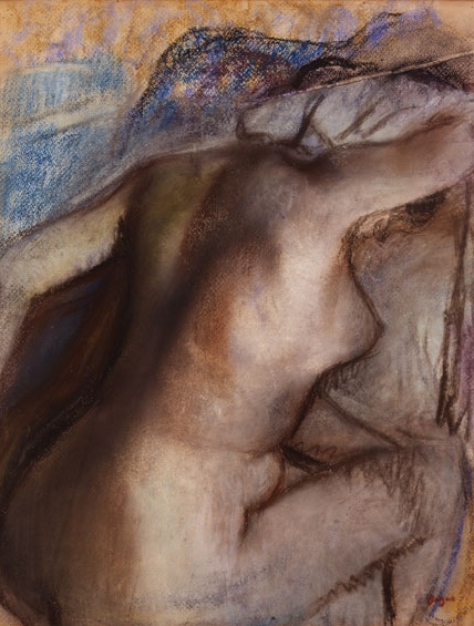 "Edgar Degas, ""After The Bath, Woman Drying Herself,"" c.1884-1886, reworked between 1890 and 1900, pastel on wove paper, 16 x 12 5/8 in, Musee d'Art Moderne Andre Malraux, Le Havre"