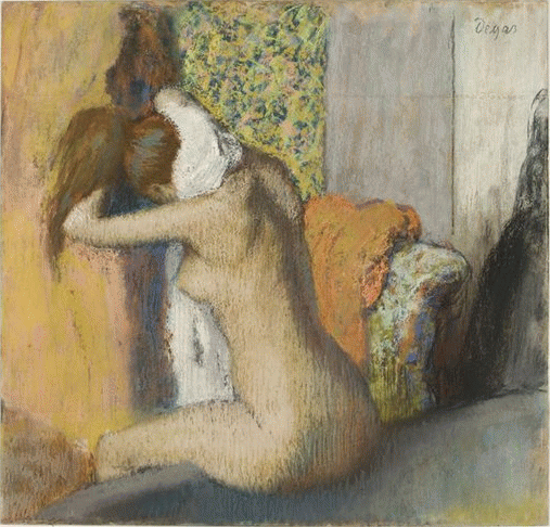 "Edgar Degas, ""After the Bath, Woman Drying Her Nape,"" 1898, pastel on wove paper mounted on cardboard, 24 1.2 x 25 5/8 in, Musee d'Orsay, Paris"