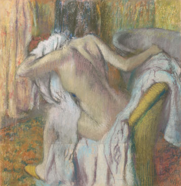 "Edgar Degas, ""After the Bath, Woman Drying Herself,"" c1890-5, pastel on wove paper laid on millboard, 40 6/8 x 38 3/8 in, National Gallery, London,"