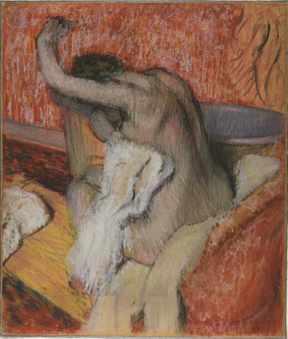 "Edgar Degas, ""After the Bath - Woman Drying Herself,"" c.1895, pastel on paper, 26 5/8 x 22 3/4 in, Courtauld Institute, London"