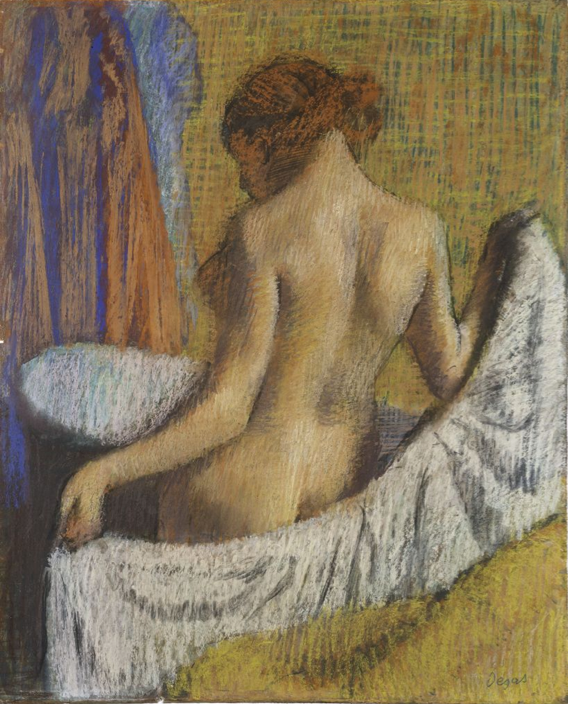 "Edgar Degas, ""After the Bath, Woman With a Towel,"" c. 1893-97, pastel on blue-gray wove paper, 27 7/8 x 22 9/16 in, Harvard Art Museums/Fogg Museum, Cambridge, Massachussetts"