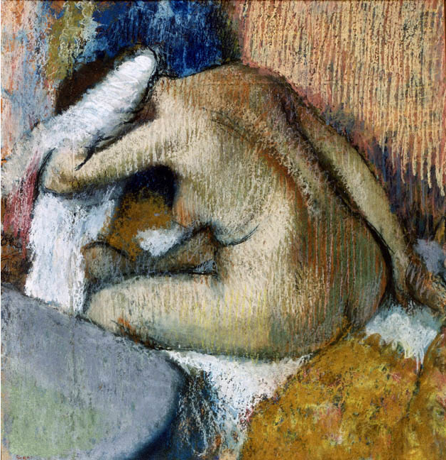 "Edgar Degas, ""After the Bath,"" c. 1896-98, pastel on paper, 26 x 24 in, E.G. Buehrle Collection, Zurich"