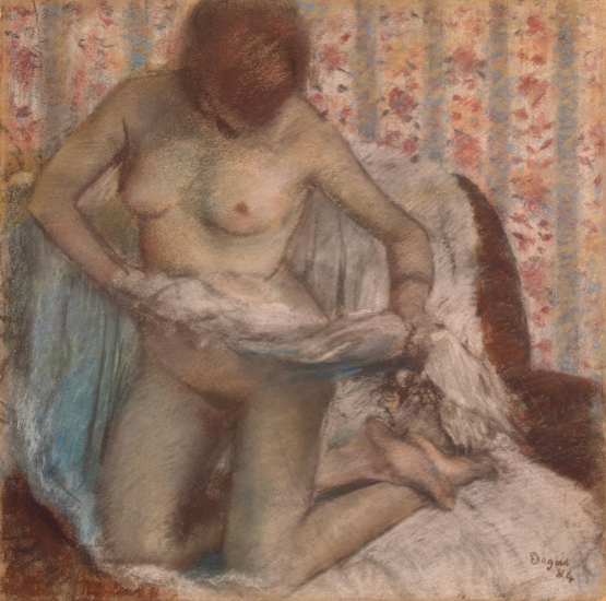 "Edgar Degas, ""Toilet of a Woman,"" 1884, pastel on mounted brown paper, 19 3/4 x 19 3/4 in, The State Hermitage Museum, St Petersburg"