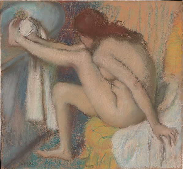 "Edgar Degas, ""Woman Drying Her Foot,"" 1885-86, pastel on buff wove paper, affixed to pulpboard, 19 3/4 x 21 1/4 in, Metropolitan Museum of Art, New York"
