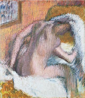"Edgar Degas, ""Woman Drying Her Hair,"" c.1905, pastel on paper, 28 1/8 x 24 3/4 in, Norton Simon Art Foundation, Pasadena, California"
