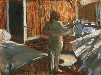 "Edgar Degas, ""Woman Drying Herself After the Bath,"" 1876-77, pastel over monotype on paper, 18 x 23 3/4 in, Norton Simon Museum, Pasadena, California"