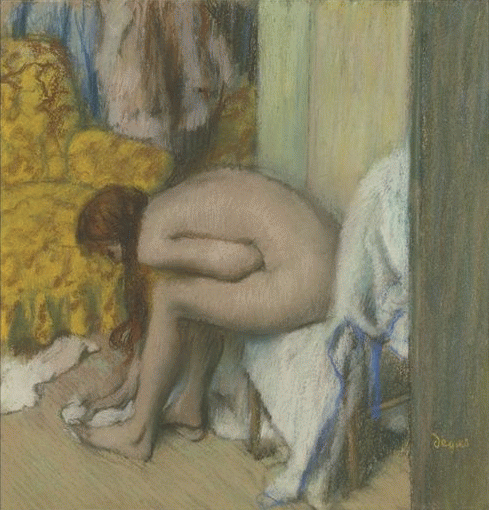 "Edgar Degas, ""Woman at Her Toilette drying her left foot,"" 1886, pastel on cardboard, 21 3/8 x 20 5/8 in,Musee d'Orsay, Paris"
