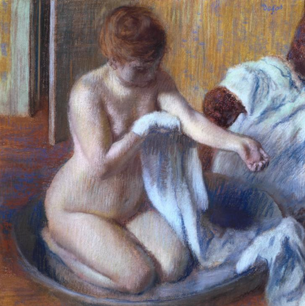 "Edgar Degas, ""Woman in a Tub,"" c.1883, pastel on paper, 27 1/2 x 27 1/2 in, Tate Gallery, London"