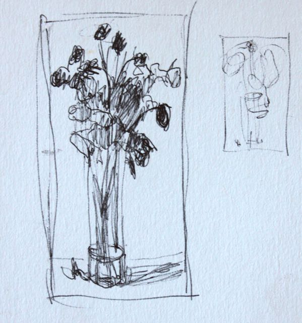 1. Thumbnail of dried roses done with biro, 3 x 1 1/2 in. Pretty sketchy but still showing areas of three values.