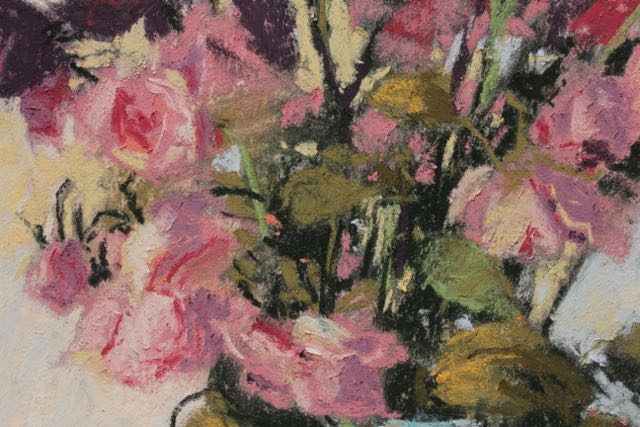 "Gail Sibley, ""Still Beautiful,"" pastel on Wallis paper, 17 1/2 x 9 1/4 in - detail of dried roses"