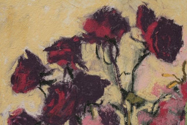 "Gail Sibley, ""Still Beautiful,"" pastel on Wallis paper, 17 1/2 x 9 1/4 in - detail #2. Pretty much life size dried roses"
