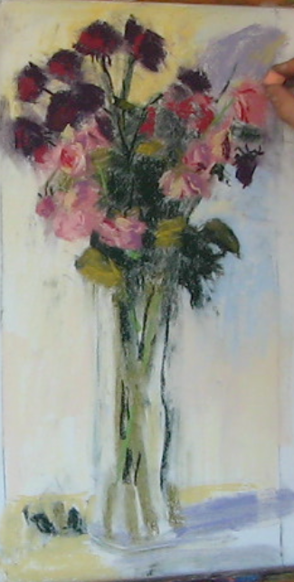 6. Starting to add more pastel and delineate the shapes, particularly the flower heads.