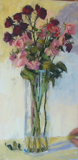 8. Background worked on, dried roses evident (flower heads, leaves, stems), vase made visible. Close to finishing.