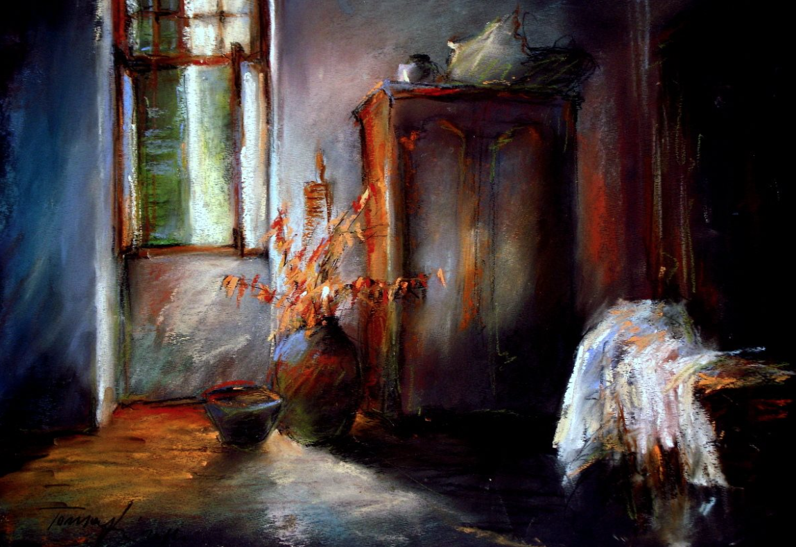 "Bela Tarcsay, ""In The Morning,"" pastel on paper, 13 3/4 x 19 5/8 in"