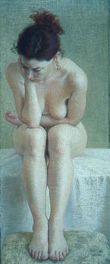 "Ellen Eagle, ""Nude,"" pastel, 31 1/2 x 13 in"