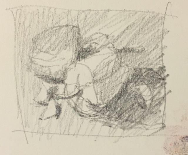 Thumbnail sketch in pencil for pastel demo