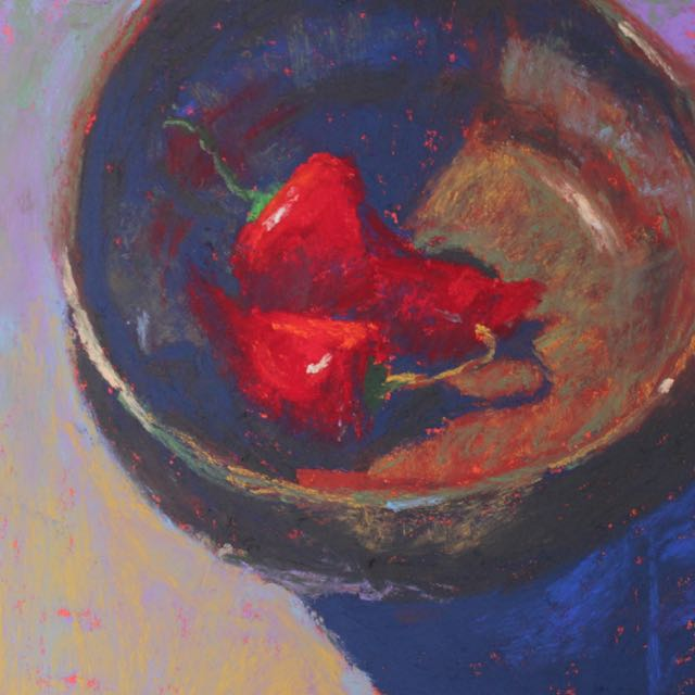 """The low key painting: Gail Sibley, """"Peppers in a Bowl,"""" Schminke pastels on Wallis paper, 6 x 6 in"""