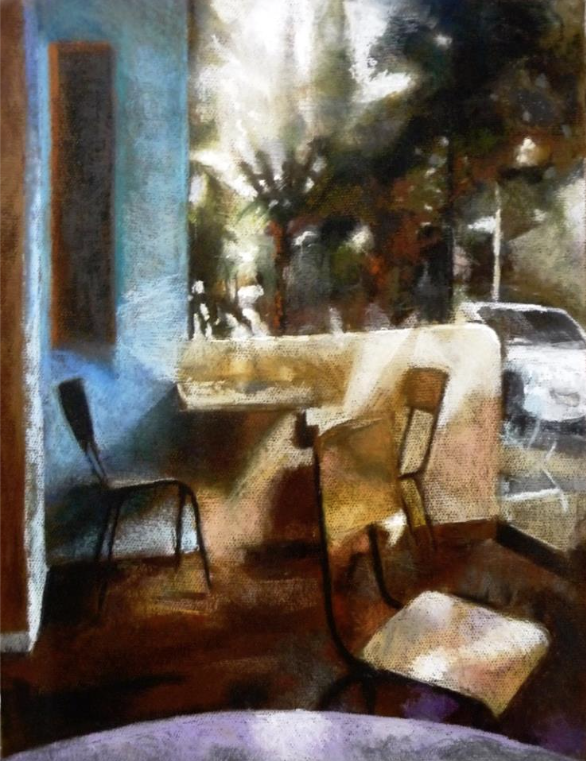 "Motti Shoval, ""Cafe Massada,"" pastel on paper, 25 5/8 x 19 11/16 in"