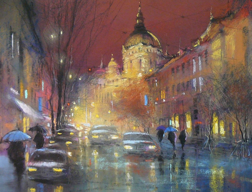 "Posa Ede, ""Budapest,"" pastel, 19 11/16 x 23 5/8 in"