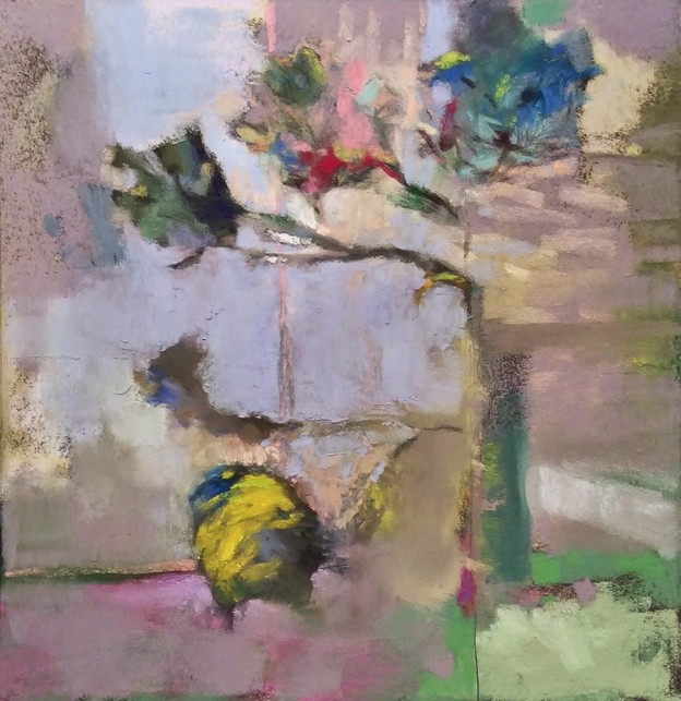 Casey Klahn, 5 Green Roses. The Ark of Movement, 2014, pastel, oil stick, & graphite, 10 3/4 x 10 1/4 in