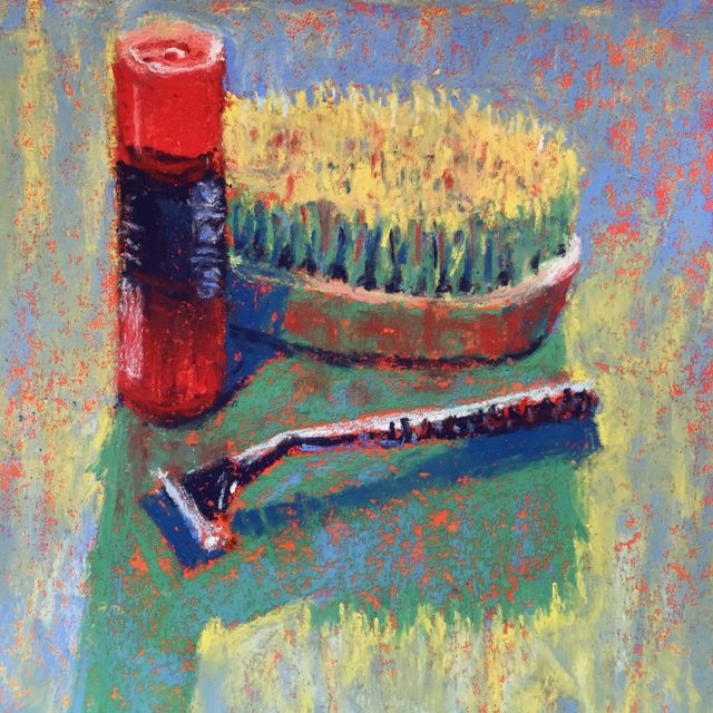 "Gail Sibley, ""His Shaving Things,"" Unison pastel on Wallis paper (toned with watercolour), 5 1/2 x 5 1/2 in"
