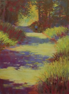 "Gail Sibley, ""Afternoon Walk, Dukes Road,"" pastel,  12 x 9 in - overworked?"