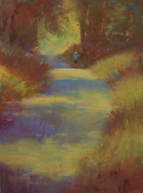 "Gail Sibley, ""Afternoon Walk, Dukes Road,"" pastel,  12 x 9 in. The wiping leaves the ghost of the original image."