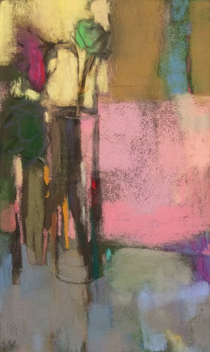 "Casey Klahn, ""Pink Flute,"" 2014, pastel and charcoal, 12 3/4 x 7 ?"