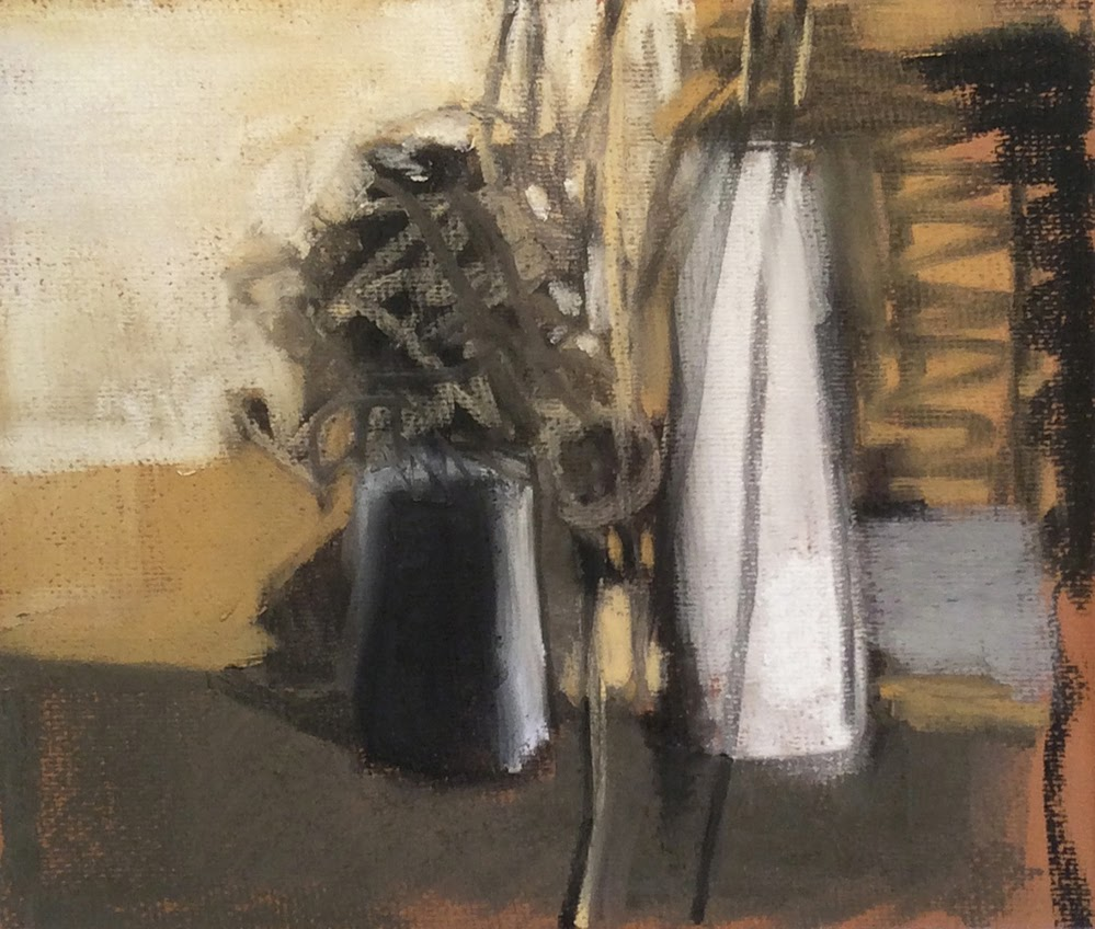 "Casey Klahn, ""Arrangement With Milk Bottle,"" 2014, compressed charcoal, pastel and vine charcoal, 11 x 13 in"