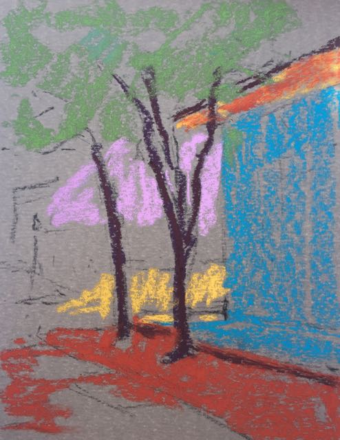 2. First colours applied for plein air pastel