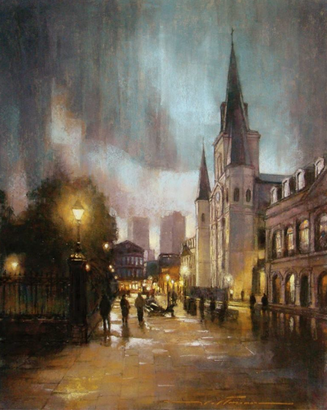 "Pastel delights: Alan Flattmann, ""Rainy Twilight at the Cathedral,"" pastel, 30 x 24 in"
