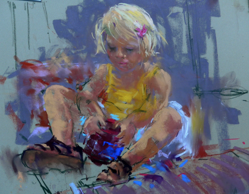 "Pastel Delights: Corry Kooy, ""Little Girl Playing,"" Sennelier pastel, 19.7 x 25.6  in"