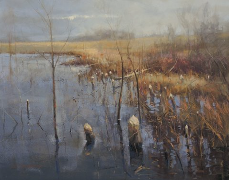 "pastel delight: Marc R. Hanson, ""Beaver Work,"" pastel on Ampersand pastelbord, 16 x 20 in"