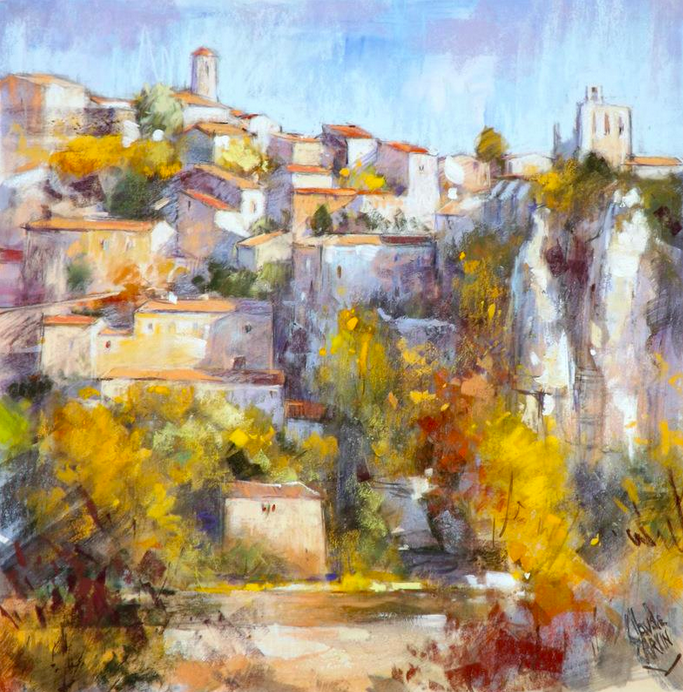 "Pastel wonders: Claude Carvin, ""Balazuc  en Ardeche,"" pastel on pastelmat, 15 3/4 x 15 3/4 in"