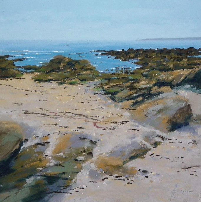 "Pastel wonders: Jean-Yves Marrec, ""Concarneau, ses Roches,"" pastel, 36 x 36 in"