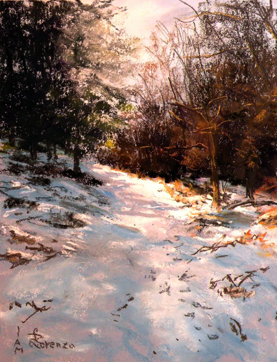 "Pastel wonders: Lorenzo Rappelli, ""Path Against The Sunlight,"" pastel on Art Spectrum paper, 12 x 9 in"