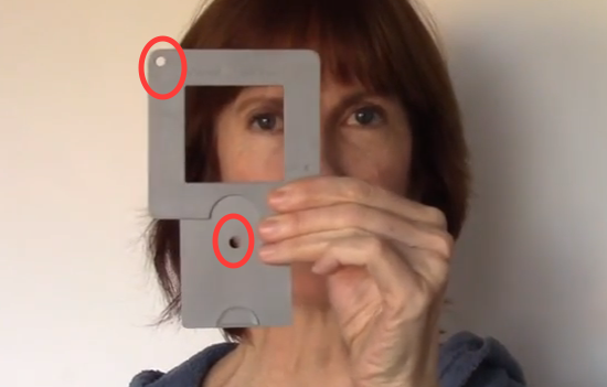 Using a Viewfinder: ViewCatcher showing the holes used for value checking